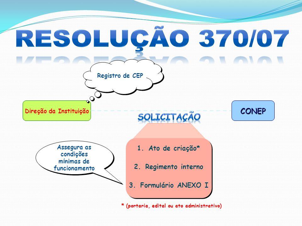 Resolução 370/07 Solicitação CONEP Ato de criação* Regimento interno