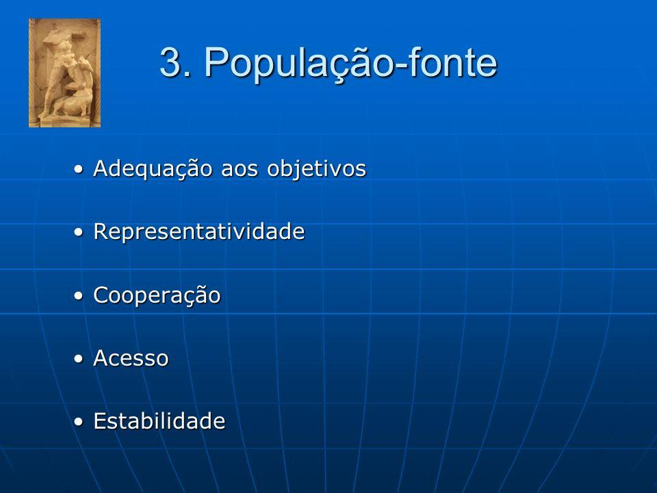 3. População-fonte Adequação aos objetivos Representatividade