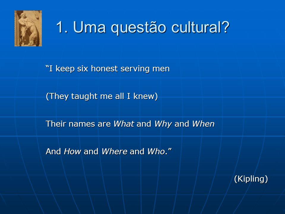 1. Uma questão cultural I keep six honest serving men