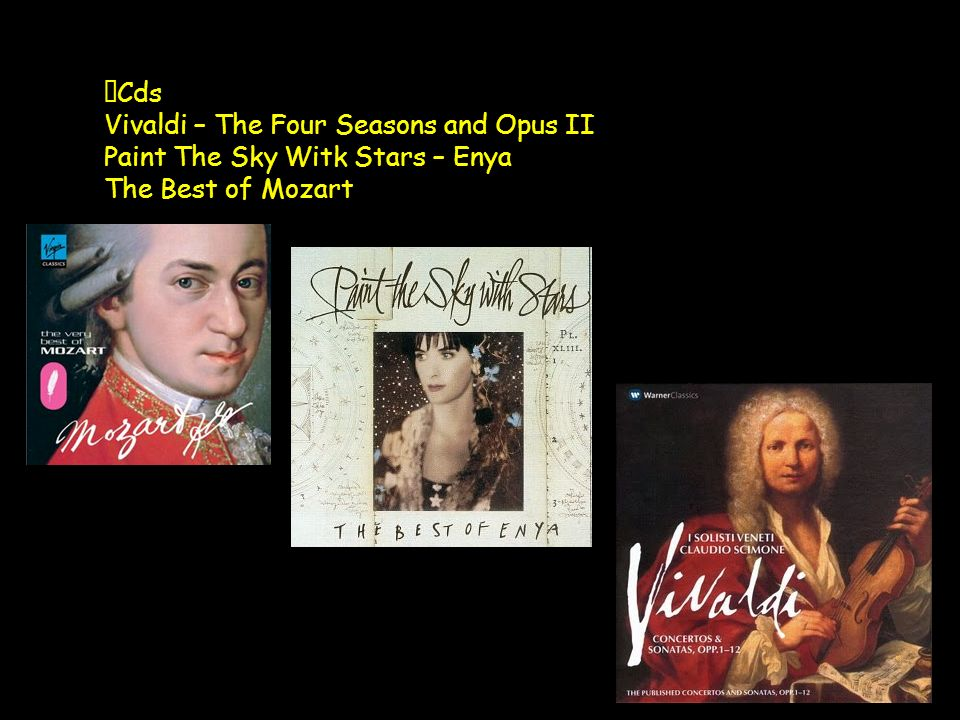 Cds Vivaldi – The Four Seasons and Opus II Paint The Sky Witk Stars – Enya The Best of Mozart