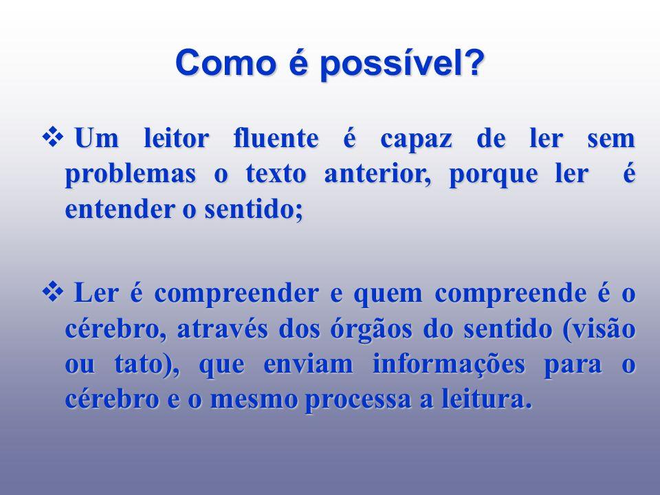 Como é possível Um leitor fluente é capaz de ler sem problemas o texto anterior, porque ler é entender o sentido;