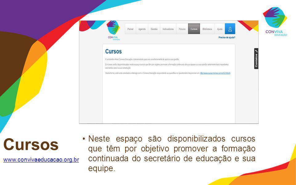 Cursos Neste espaço são disponibilizados cursos que têm por objetivo promover a formação continuada do secretário de educação e sua equipe.