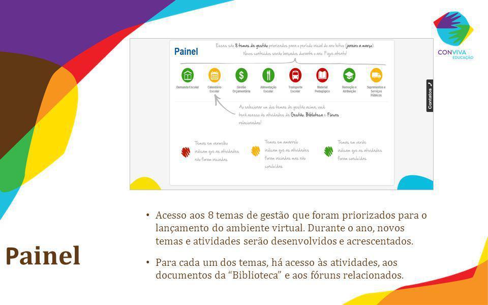 Acesso aos 8 temas de gestão que foram priorizados para o lançamento do ambiente virtual. Durante o ano, novos temas e atividades serão desenvolvidos e acrescentados.