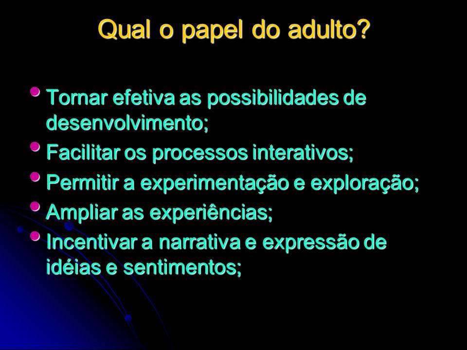 Qual o papel do adulto Tornar efetiva as possibilidades de desenvolvimento; Facilitar os processos interativos;