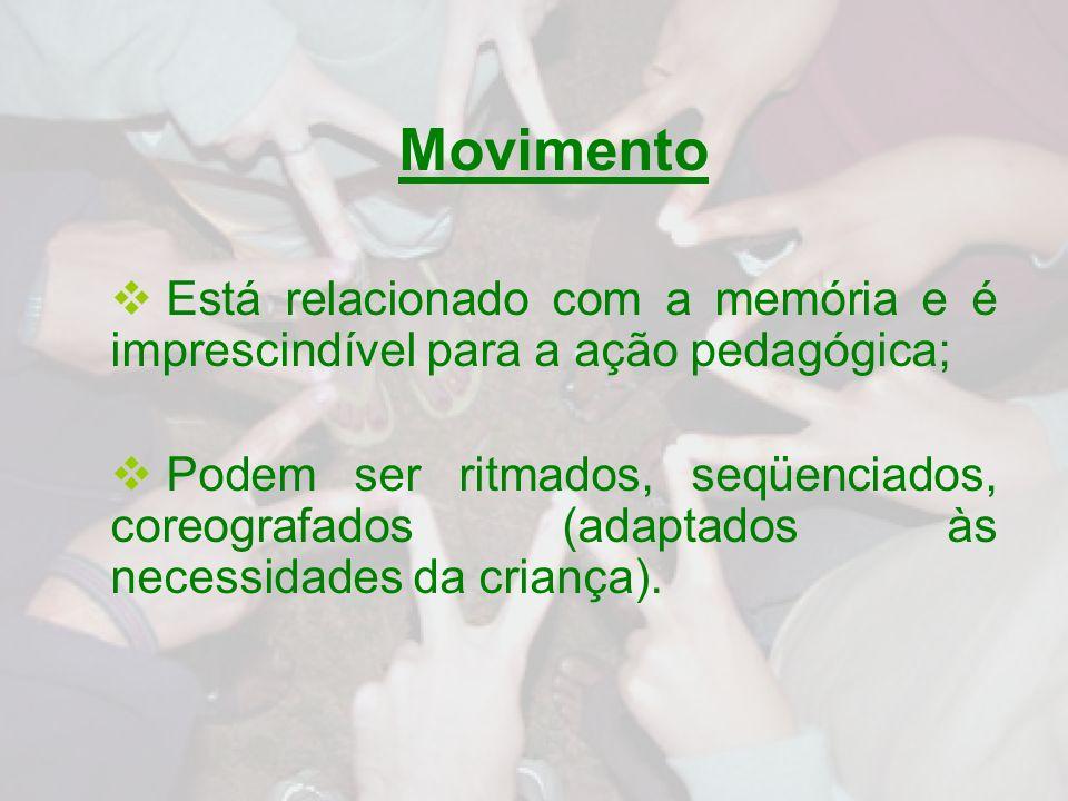 MovimentoEstá relacionado com a memória e é imprescindível para a ação pedagógica;