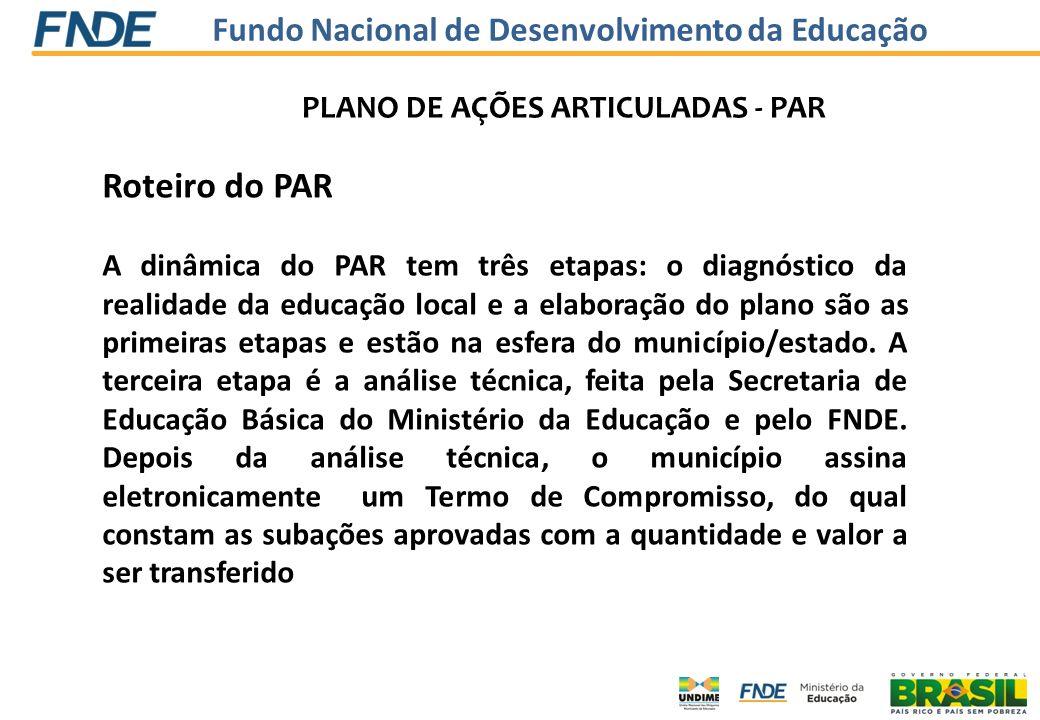 Roteiro do PAR PLANO DE AÇÕES ARTICULADAS - PAR