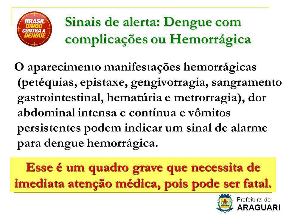 Sinais de alerta: Dengue com complicações ou Hemorrágica