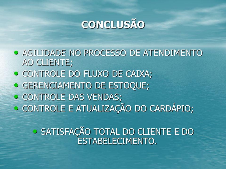 SATISFAÇÃO TOTAL DO CLIENTE E DO ESTABELECIMENTO.