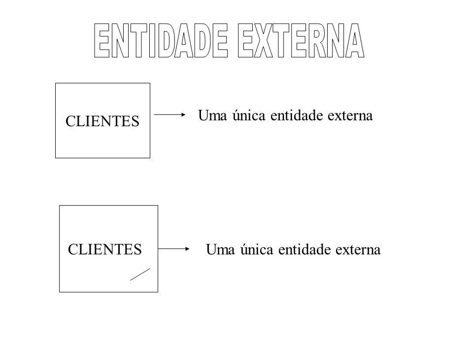 ENTIDADE EXTERNA CLIENTES Uma única entidade externa CLIENTES
