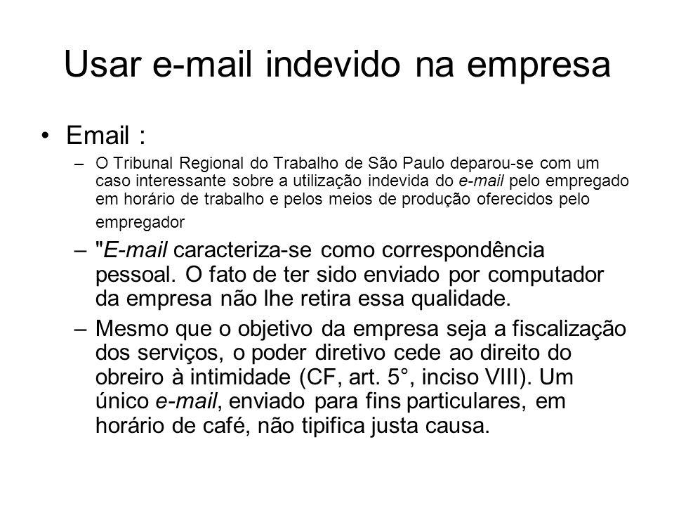 Usar e-mail indevido na empresa