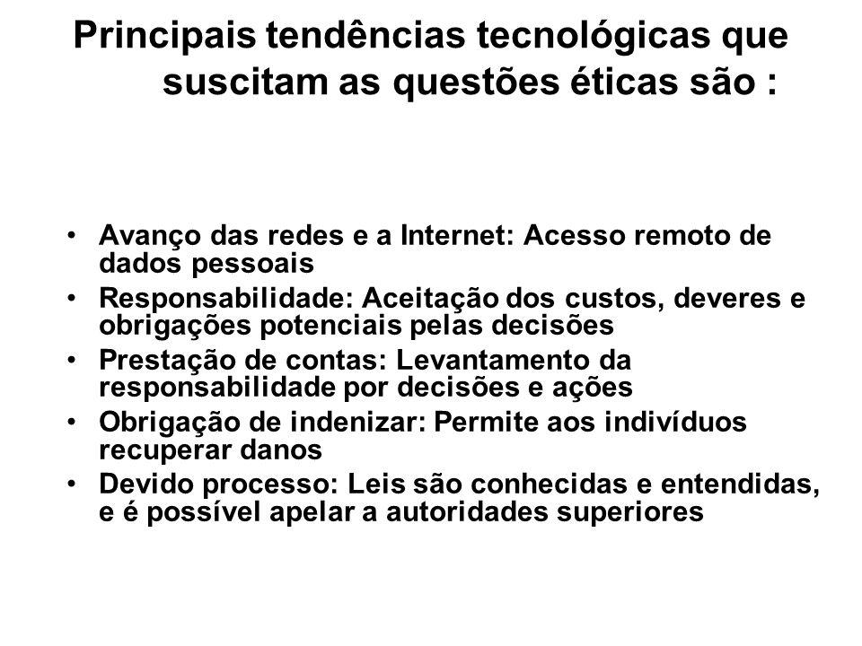 Principais tendências tecnológicas que suscitam as questões éticas são :
