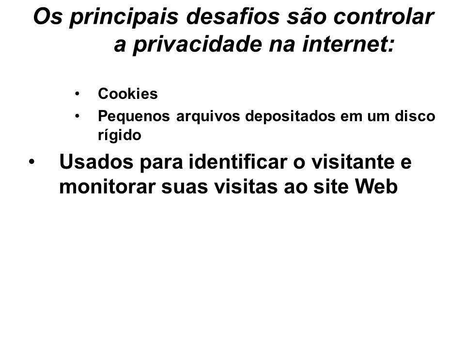 Os principais desafios são controlar a privacidade na internet: