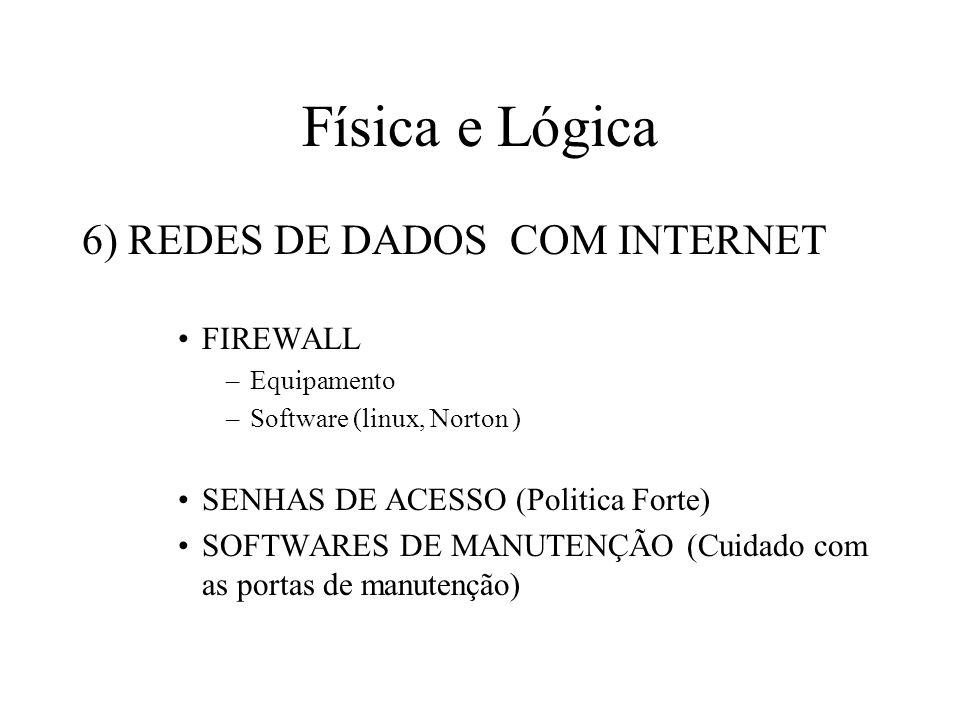 Física e Lógica 6) REDES DE DADOS COM INTERNET FIREWALL