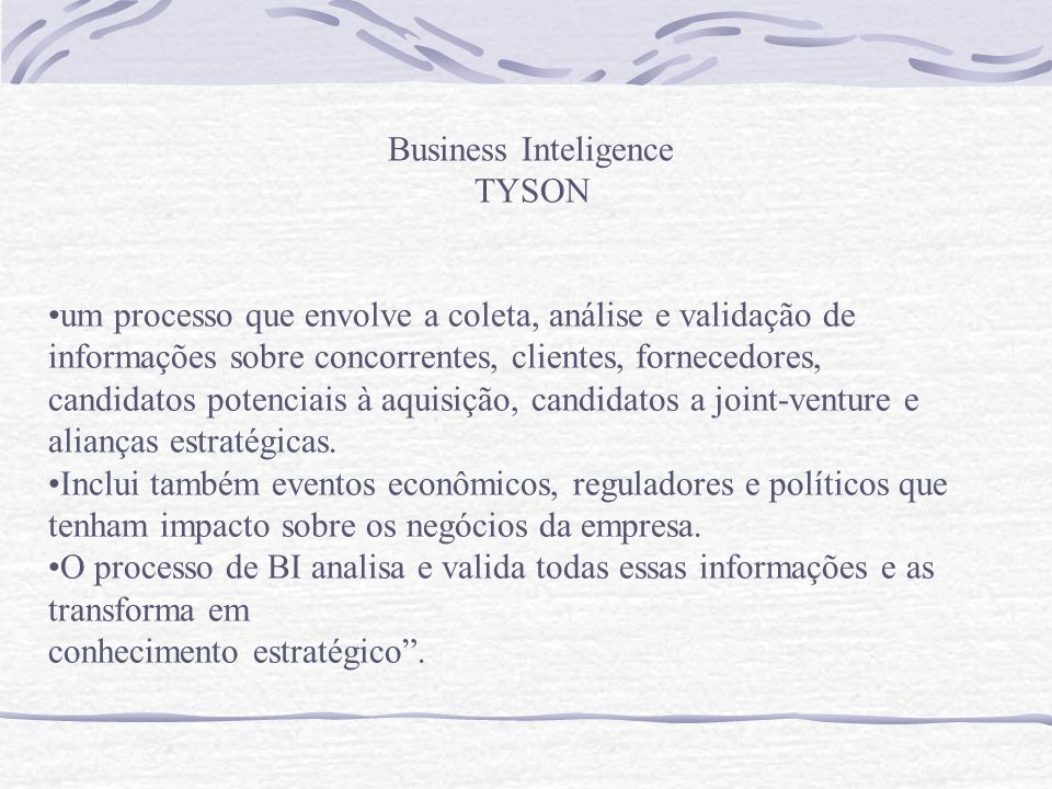Business Inteligence TYSON.