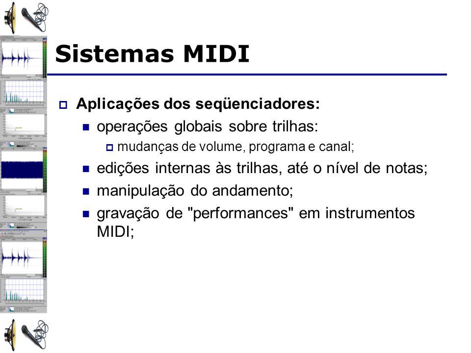 Sistemas MIDI Aplicações dos seqüenciadores: