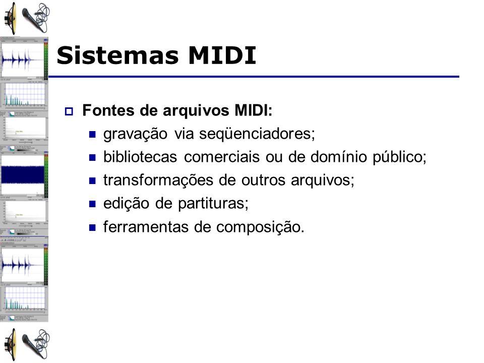 Sistemas MIDI Fontes de arquivos MIDI: gravação via seqüenciadores;