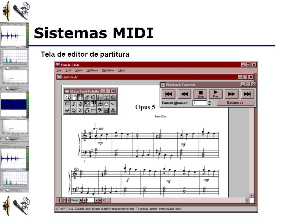 Sistemas MIDI Tela de editor de partitura