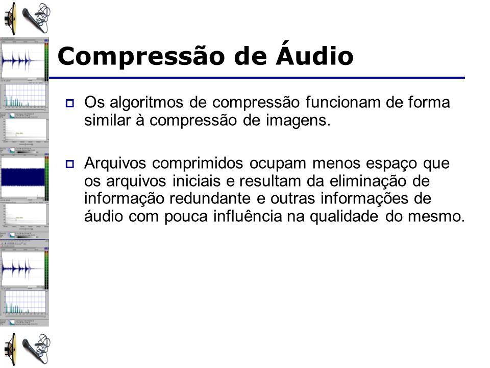 Compressão de Áudio Os algoritmos de compressão funcionam de forma similar à compressão de imagens.
