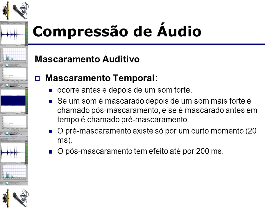 Compressão de Áudio Mascaramento Auditivo Mascaramento Temporal: