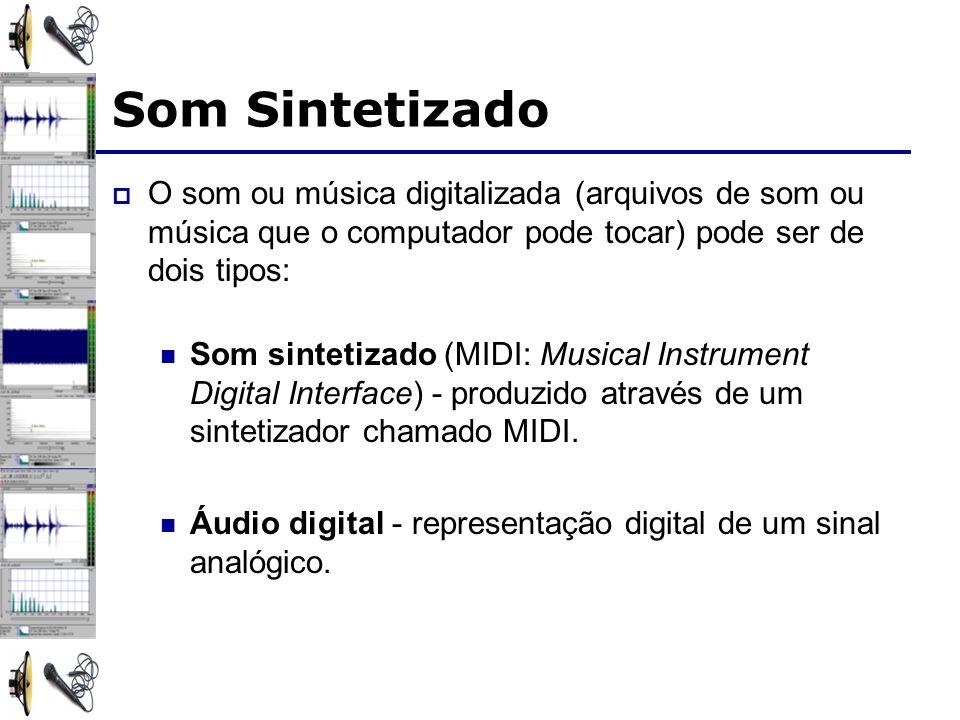 Som Sintetizado O som ou música digitalizada (arquivos de som ou música que o computador pode tocar) pode ser de dois tipos: