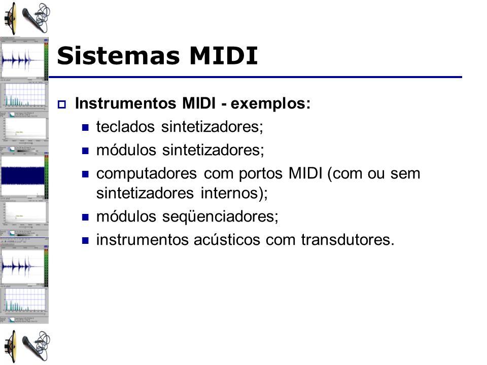 Sistemas MIDI Instrumentos MIDI - exemplos: teclados sintetizadores;