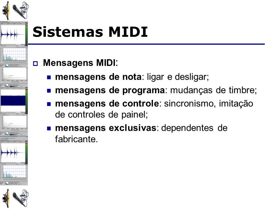 Sistemas MIDI Mensagens MIDI: mensagens de nota: ligar e desligar;