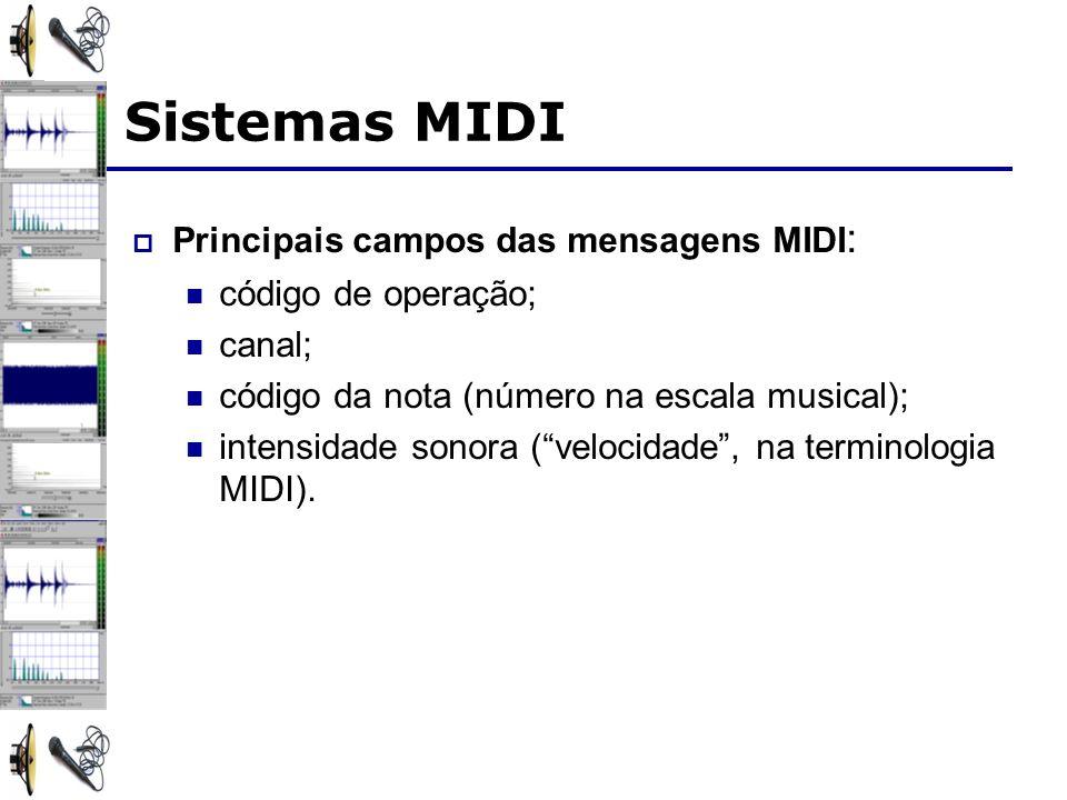 Sistemas MIDI Principais campos das mensagens MIDI: