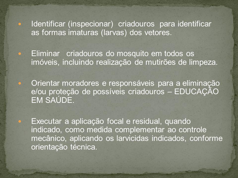 Identificar (inspecionar) criadouros para identificar as formas imaturas (larvas) dos vetores.