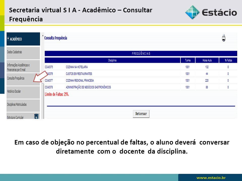 Secretaria virtual S I A - Acadêmico – Consultar Frequência
