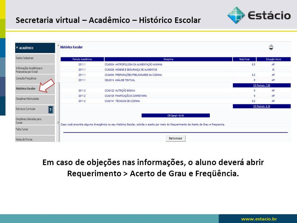 Secretaria virtual – Acadêmico – Histórico Escolar