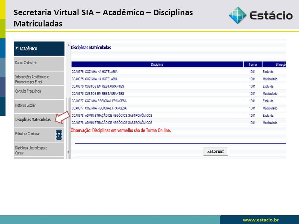 Secretaria Virtual SIA – Acadêmico – Disciplinas Matriculadas