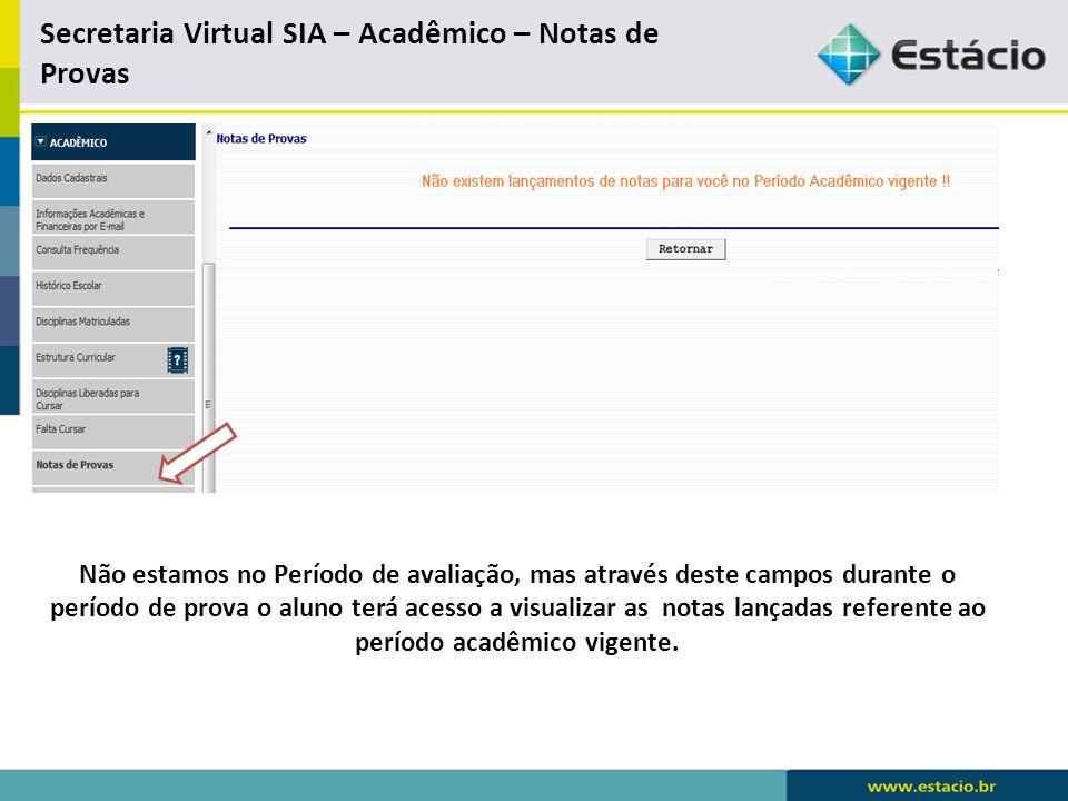 Secretaria Virtual SIA – Acadêmico – Notas de Provas