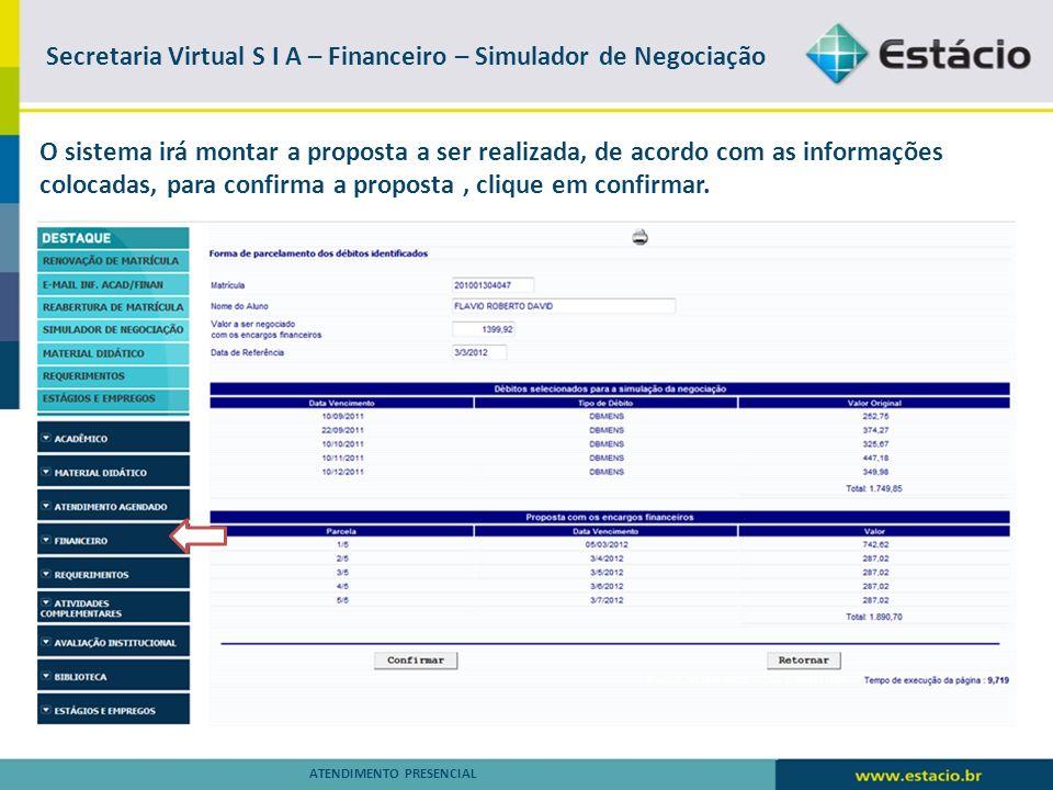 Secretaria Virtual S I A – Financeiro – Simulador de Negociação
