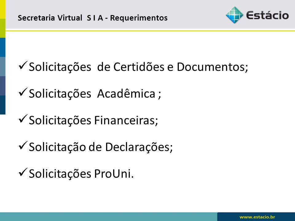 Secretaria Virtual S I A - Requerimentos