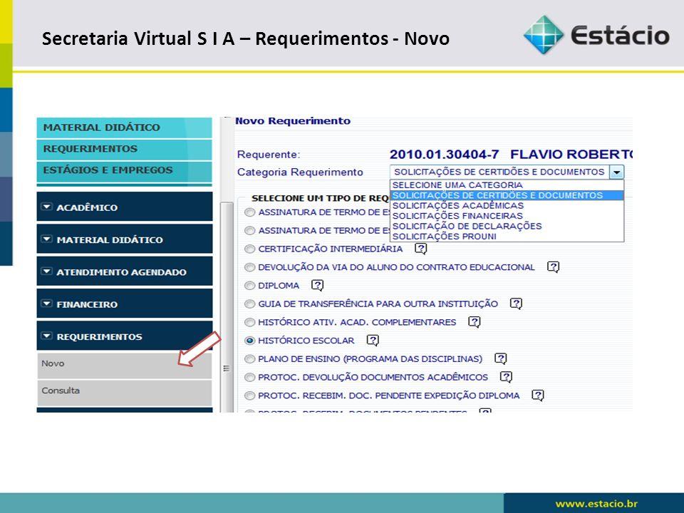 Secretaria Virtual S I A – Requerimentos - Novo