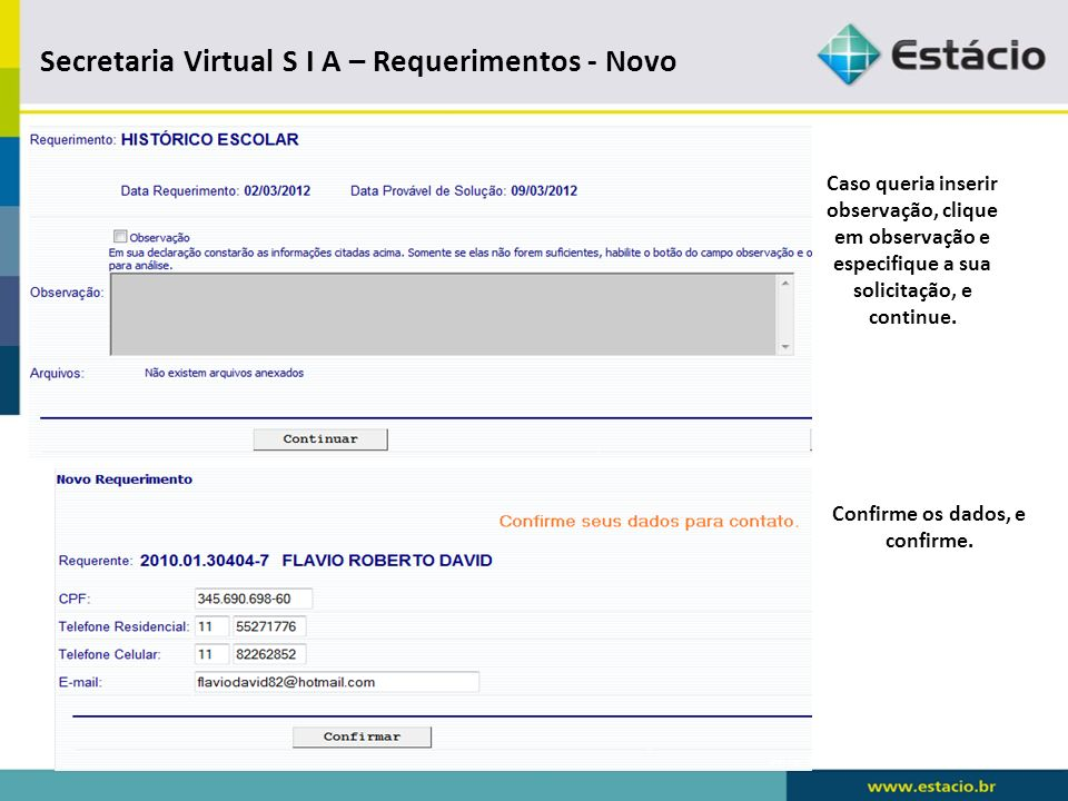 Secretaria Virtual S I A – Requerimentos - Novo