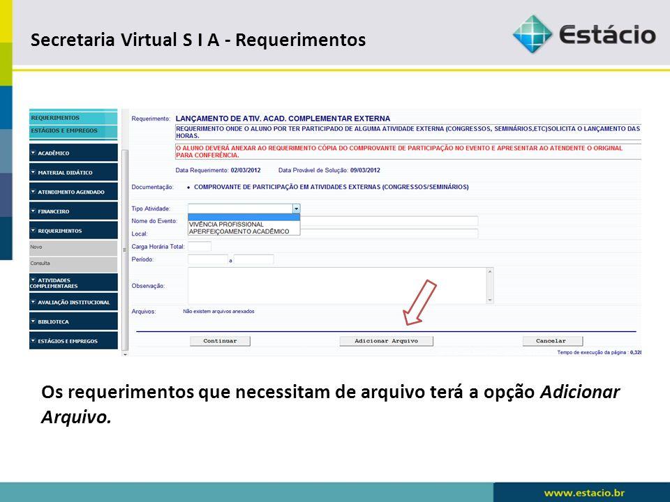 Secretaria Virtual S I A - Requerimentos