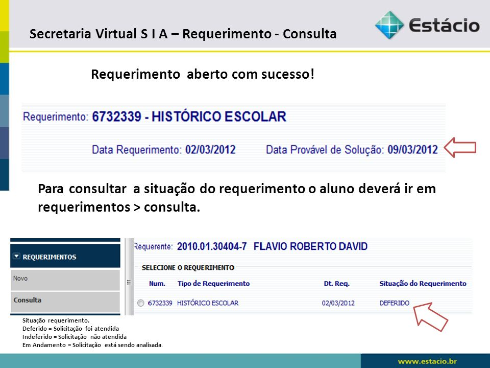 Secretaria Virtual S I A – Requerimento - Consulta