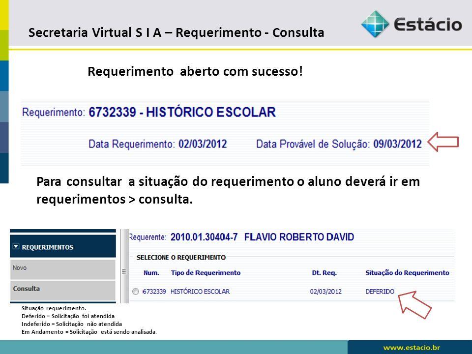 Secretaria Virtual S I A – Requerimento - Consulta
