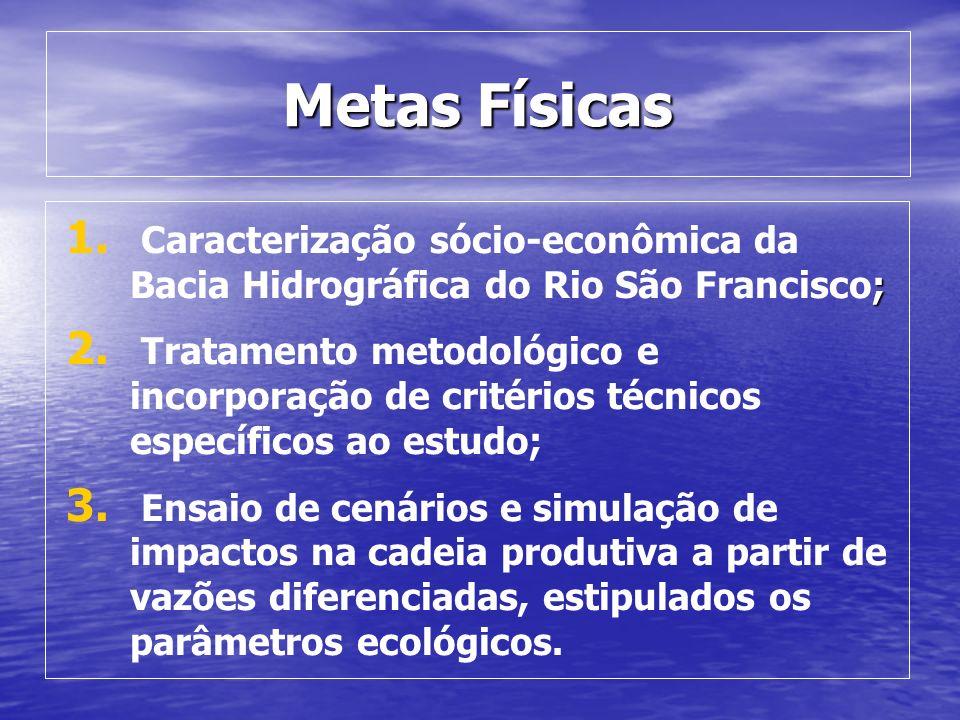 Metas Físicas Caracterização sócio-econômica da Bacia Hidrográfica do Rio São Francisco;