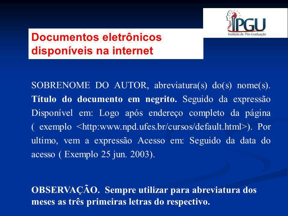 Documentos eletrônicos disponíveis na internet