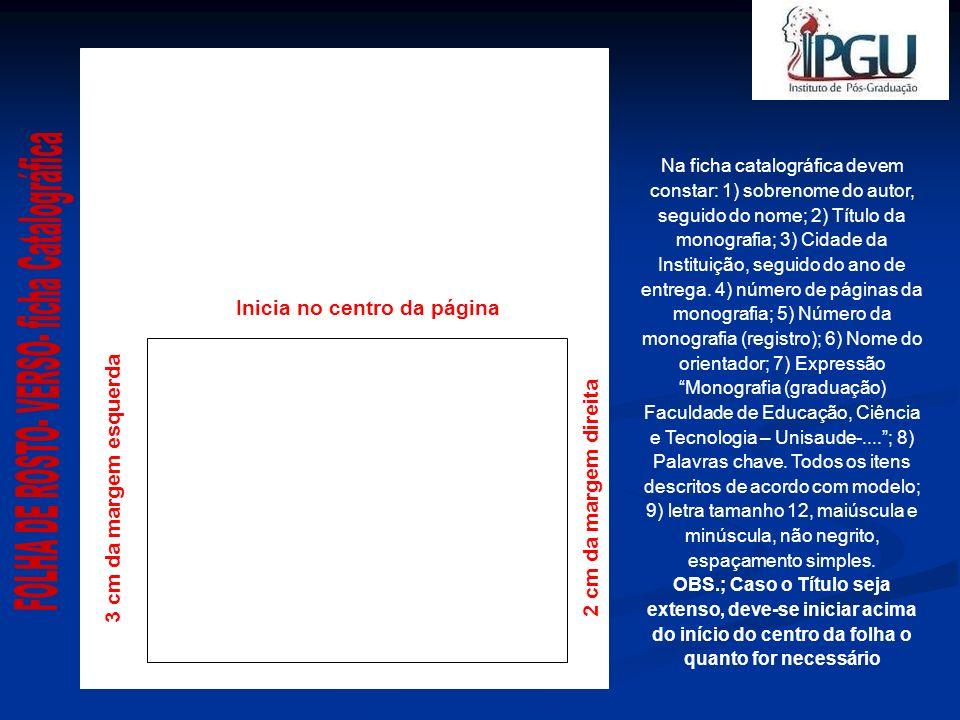 FOLHA DE ROSTO- VERSO- ficha Catalográfica