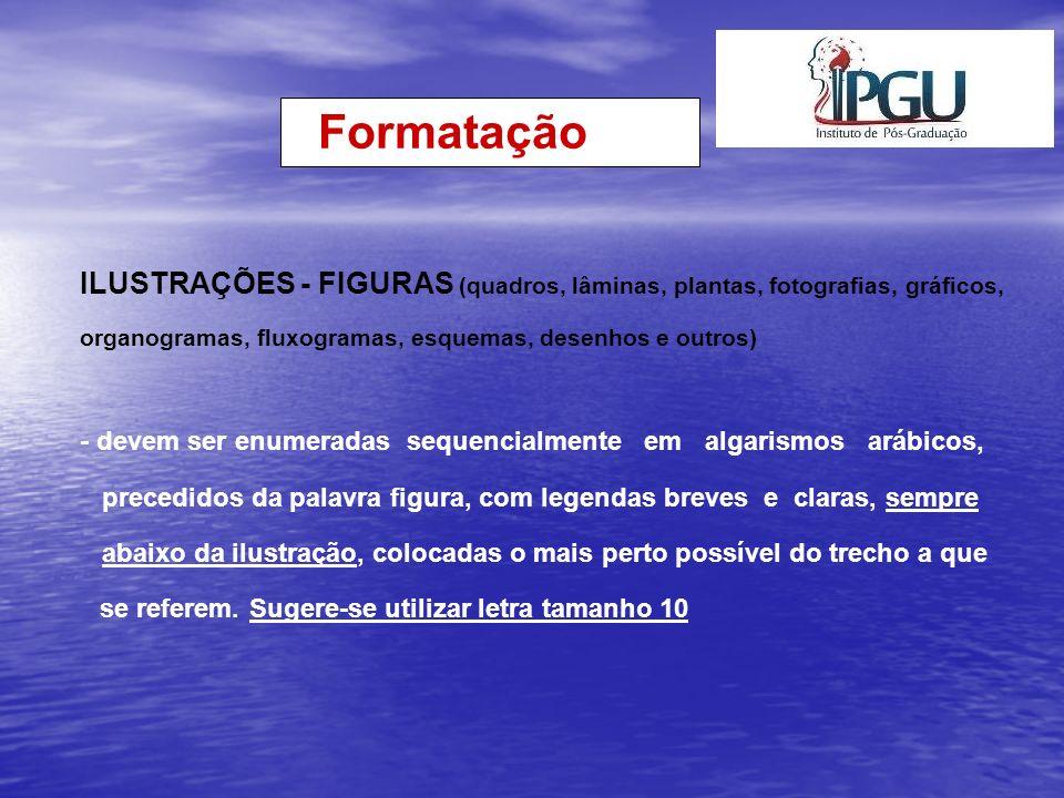Formatação ILUSTRAÇÕES - FIGURAS (quadros, lâminas, plantas, fotografias, gráficos, organogramas, fluxogramas, esquemas, desenhos e outros)