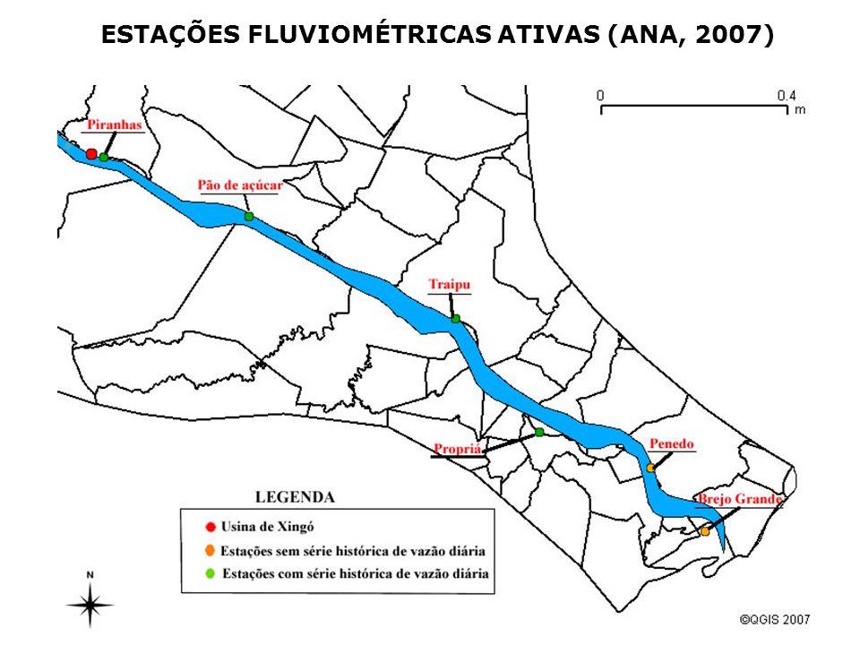 ESTAÇÕES FLUVIOMÉTRICAS ATIVAS (ANA, 2007)