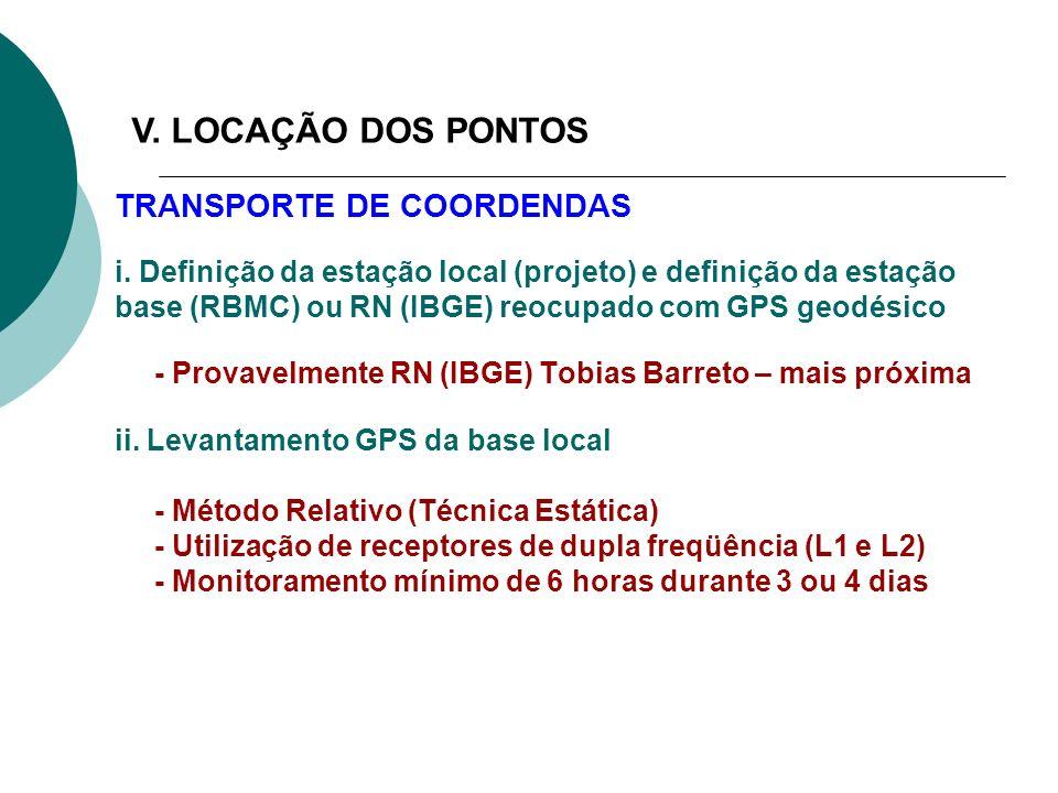 V. LOCAÇÃO DOS PONTOS TRANSPORTE DE COORDENDAS