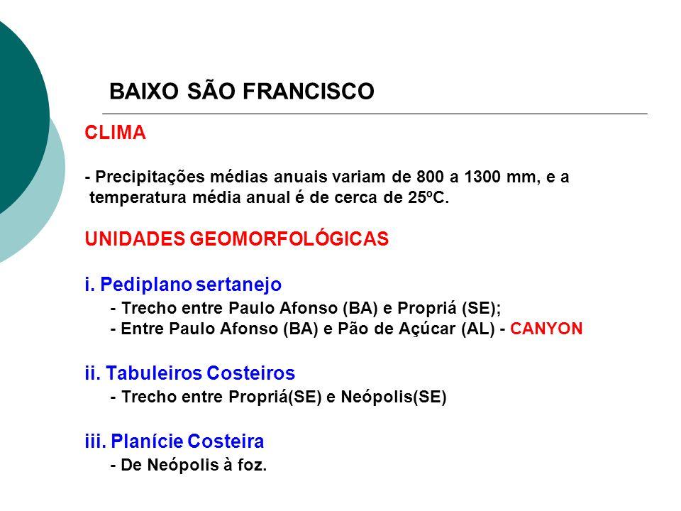 BAIXO SÃO FRANCISCO CLIMA UNIDADES GEOMORFOLÓGICAS