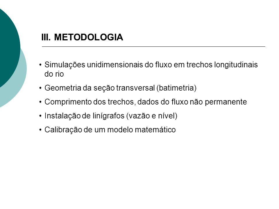 III. METODOLOGIA Simulações unidimensionais do fluxo em trechos longitudinais do rio. Geometria da seção transversal (batimetria)
