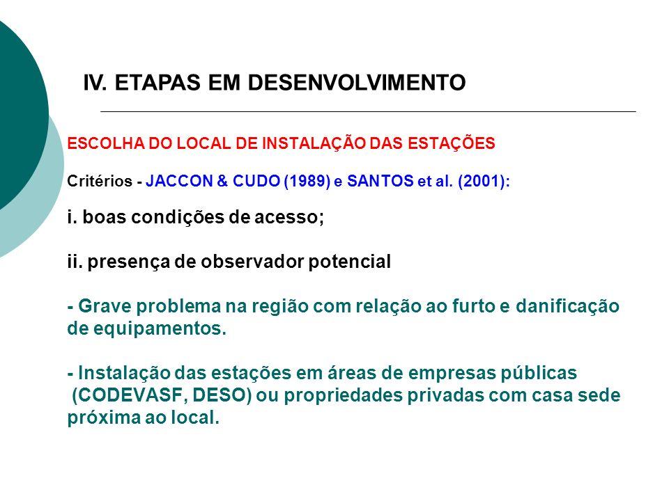 IV. ETAPAS EM DESENVOLVIMENTO