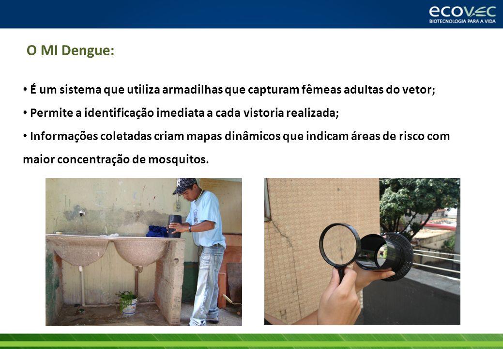 O MI Dengue:É um sistema que utiliza armadilhas que capturam fêmeas adultas do vetor; Permite a identificação imediata a cada vistoria realizada;