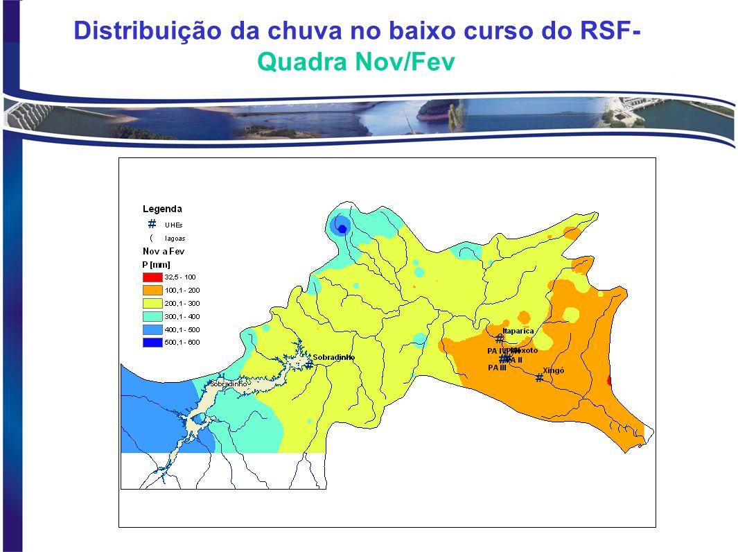 Distribuição da chuva no baixo curso do RSF- Quadra Nov/Fev